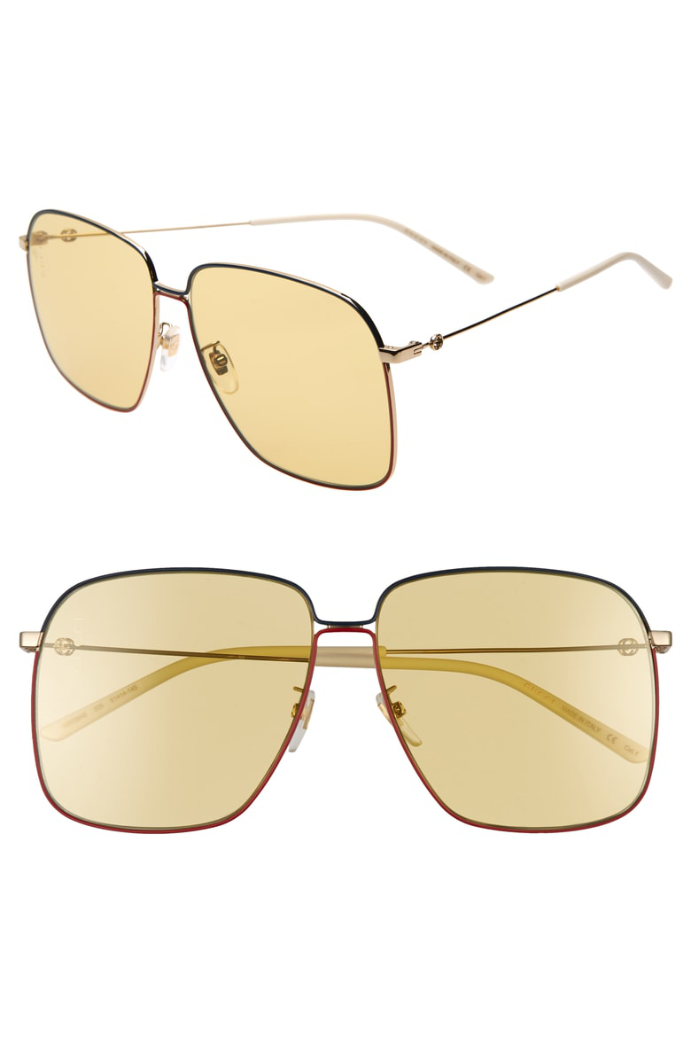6a11ee0b37025b Gucci 61Mm Square Sunglasses - Gold  Blue  Red  Solid Yellow
