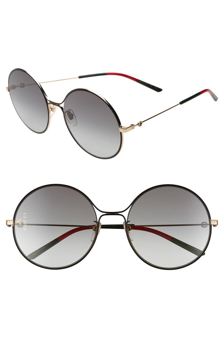 7d1b1f9feeb Gucci 58Mm Round Sunglasses - Gold  Black  Grey Gradient