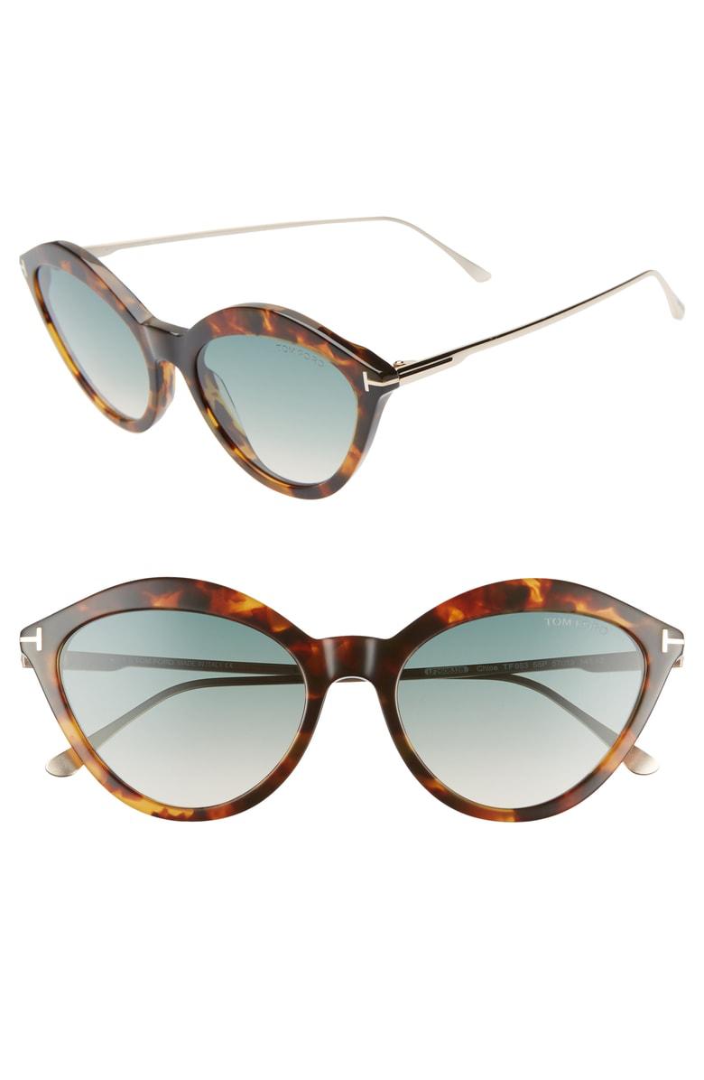 9b6e7d08f4c7 Tom Ford Chloe 57Mm Cat Eye Sunglasses - Havana  Rose Gold  Turquoise