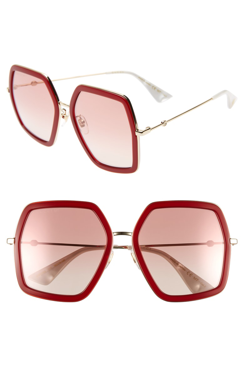 a7a33676c1 Gucci 56Mm Sunglasses In Shiny Endura Gld Pk Grad Mir