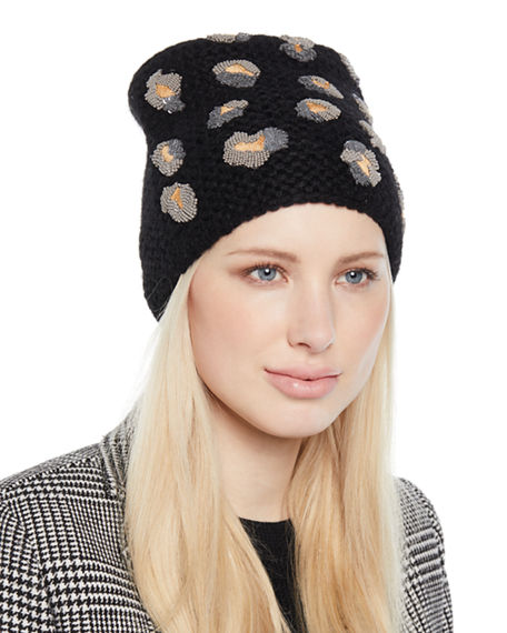 3b13aaa30ccf3 Jennifer Behr Bengal Knit Embellished Beanie Hat In Black