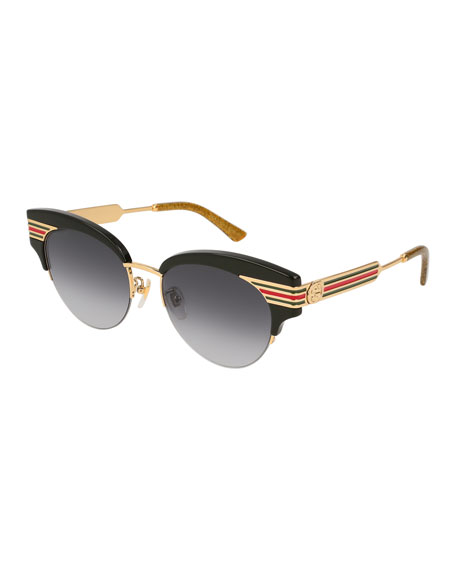d60c3c804d6 Gucci Metal   Acetate Cat-Eye Sylvie Web Sunglasses
