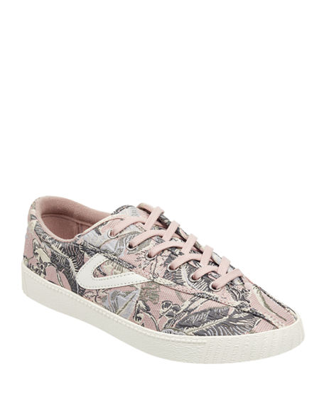 5332ba6cb Tretorn Nylite Plus Jacquard Low-Top Sneakers In Pink/ Green/ White Fabric