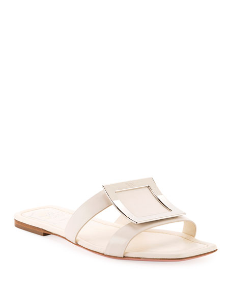 Roger Vivier Biki Viv Embellished Leather Slides In Cream