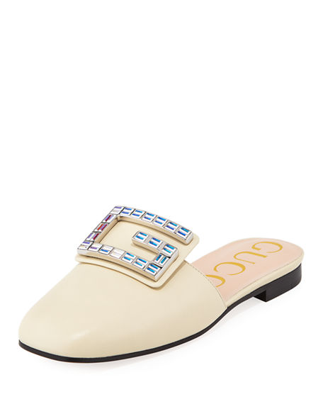 b9aef44fb Gucci Leather Slide Mules With Square Crystal G In White