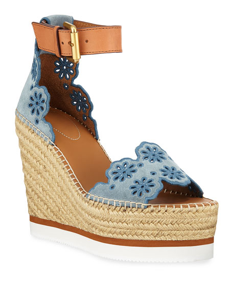 a4d52a995db Embroidered Suede And Leather Espadrille Wedge Sandals in Blue