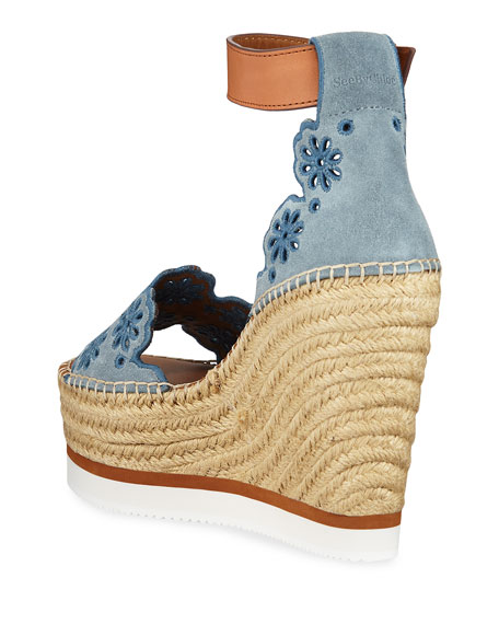 337c9034e See By ChloÉ Embroidered Suede And Leather Espadrille Wedge Sandals In Blue