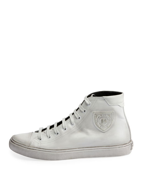 Saint Laurent Bedford Logo-Appliqued Distressed Leather High-Top Sneakers In White