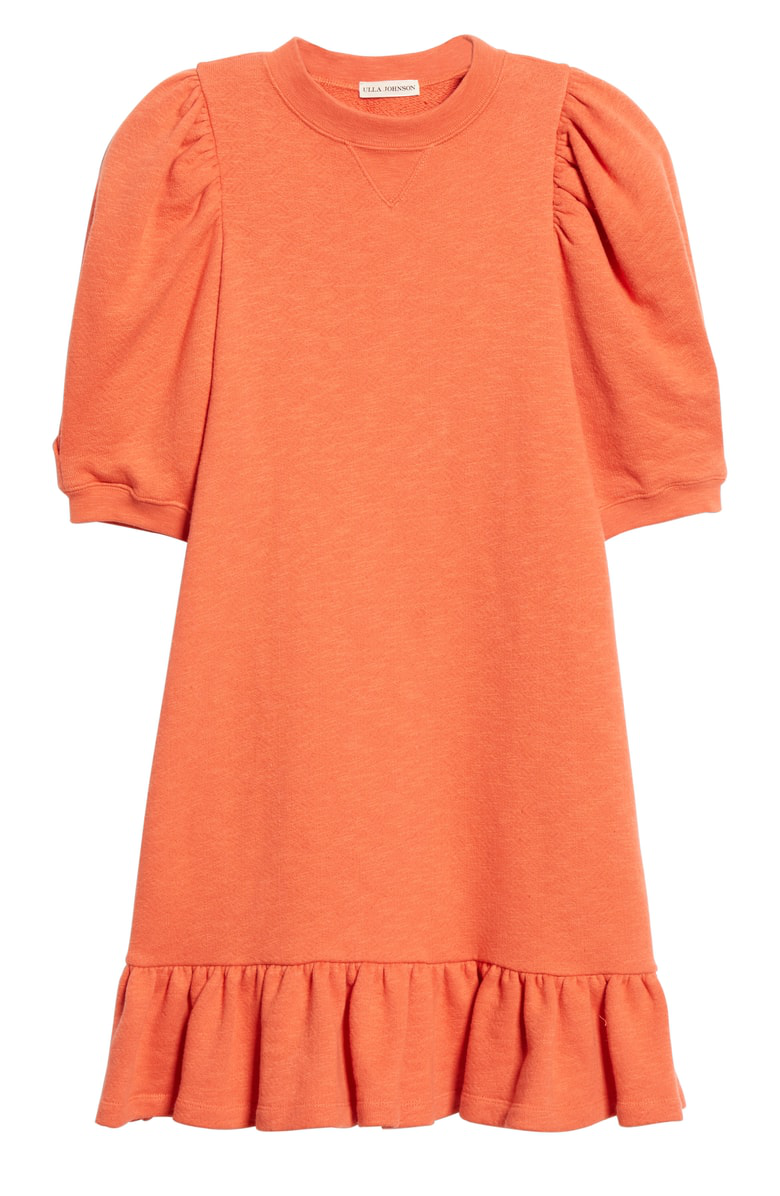 55c7f1e361e Ulla Johnson Landry Puff Sleeve Sweatshirt Dress In Chili