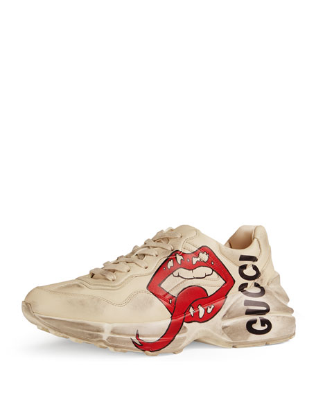 Gucci Men's Rhyton Leather Sneakers With Mouth Print In 9522 White