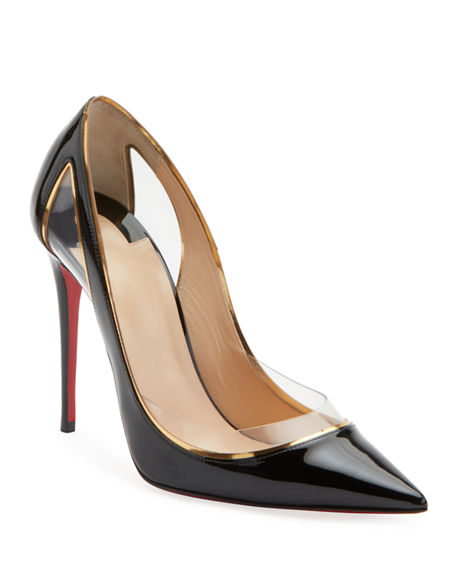 6dffddf93150 Christian Louboutin Cosmo 100 Metallic-Trimmed Pvc And Patent-Leather Pumps  In Black