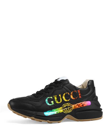 Gucci Rhyton Metallic Logo-Print Leather Sneakers In 1000  Black