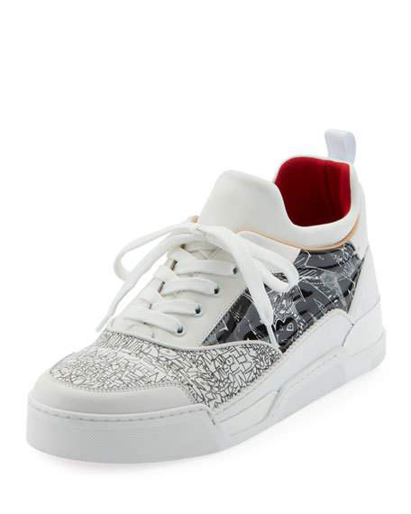 1e08bca1ee9a Christian Louboutin Men s Aurelien Multimedia Low-Top Sneakers In Black  White