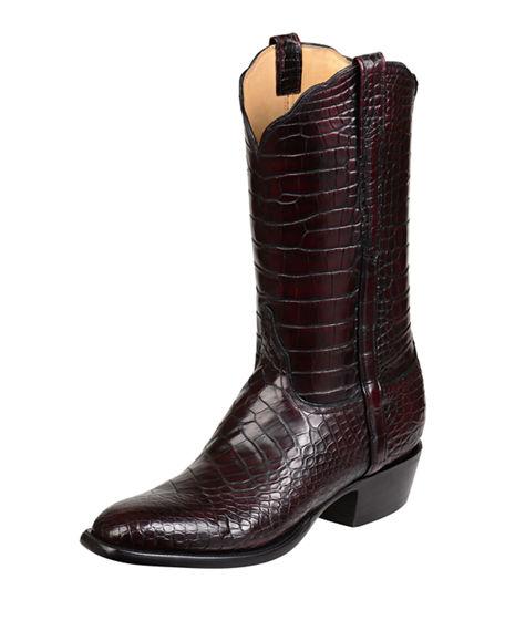 f2d47627ded Men's Baron Gator Western Boots in Black Cherry