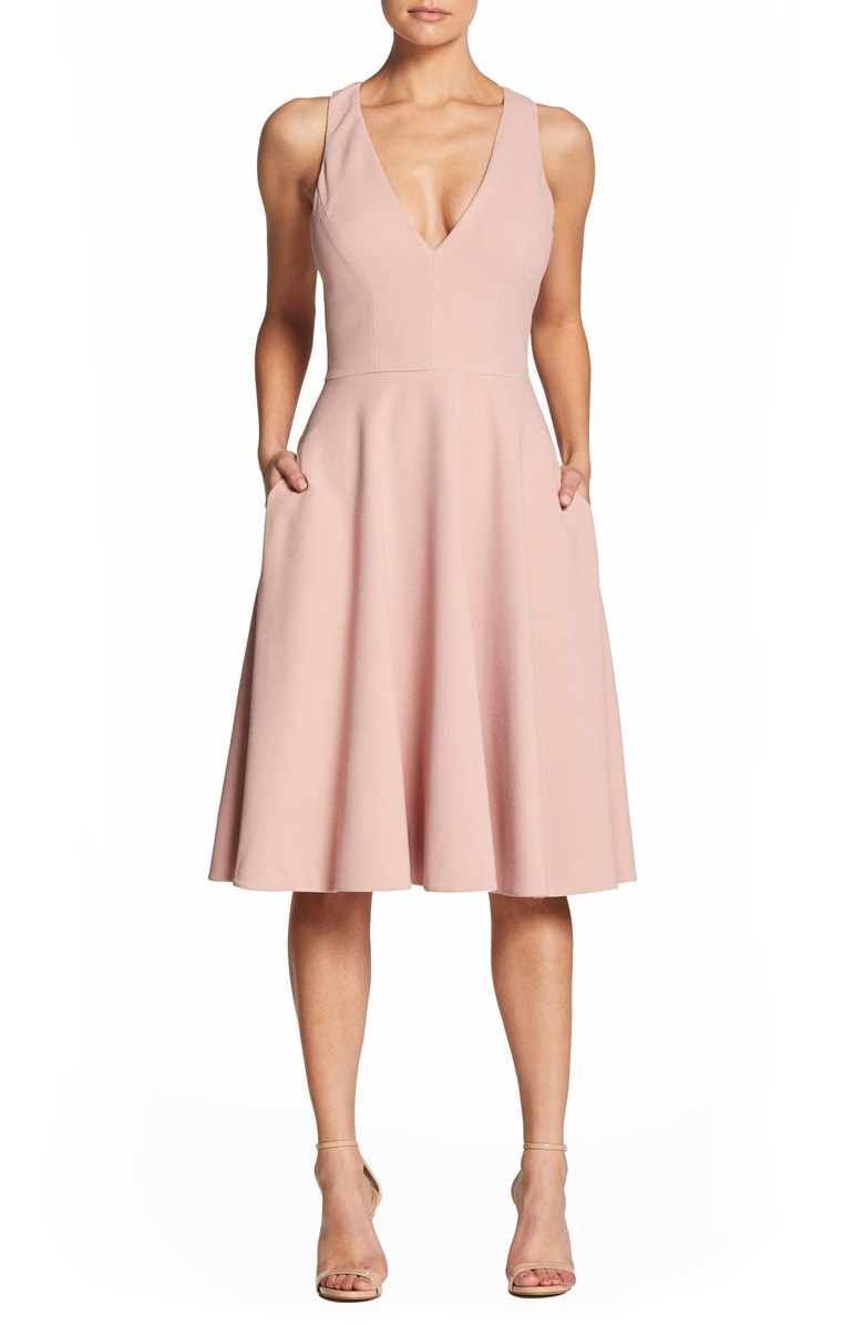 68796e65e4f2 Dress The Population Catalina Tea Length Fit   Flare Dress In Blush ...