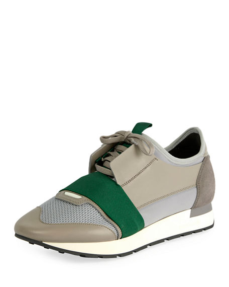 Balenciaga Men's Race Runner Mesh & Leather Sneakers In Grey/ Green