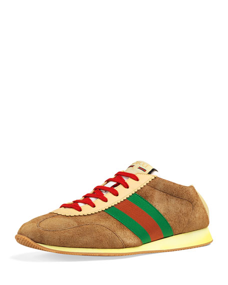 3021849c83e Gucci Men s Suede Fold-Down Sneakers With Web In Khaki Brown
