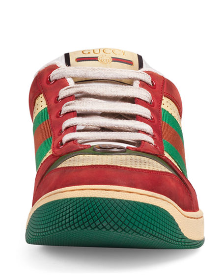 Gucci Virtus Distressed Leather And Webbing Sneakers In Red