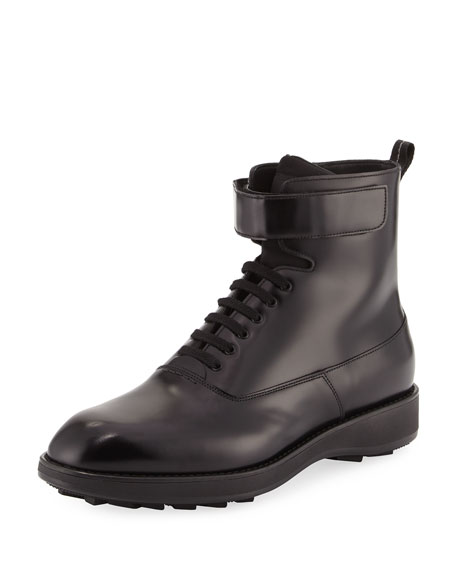 5f3224c17ef Leather Lace-Up Combat Boot, Black