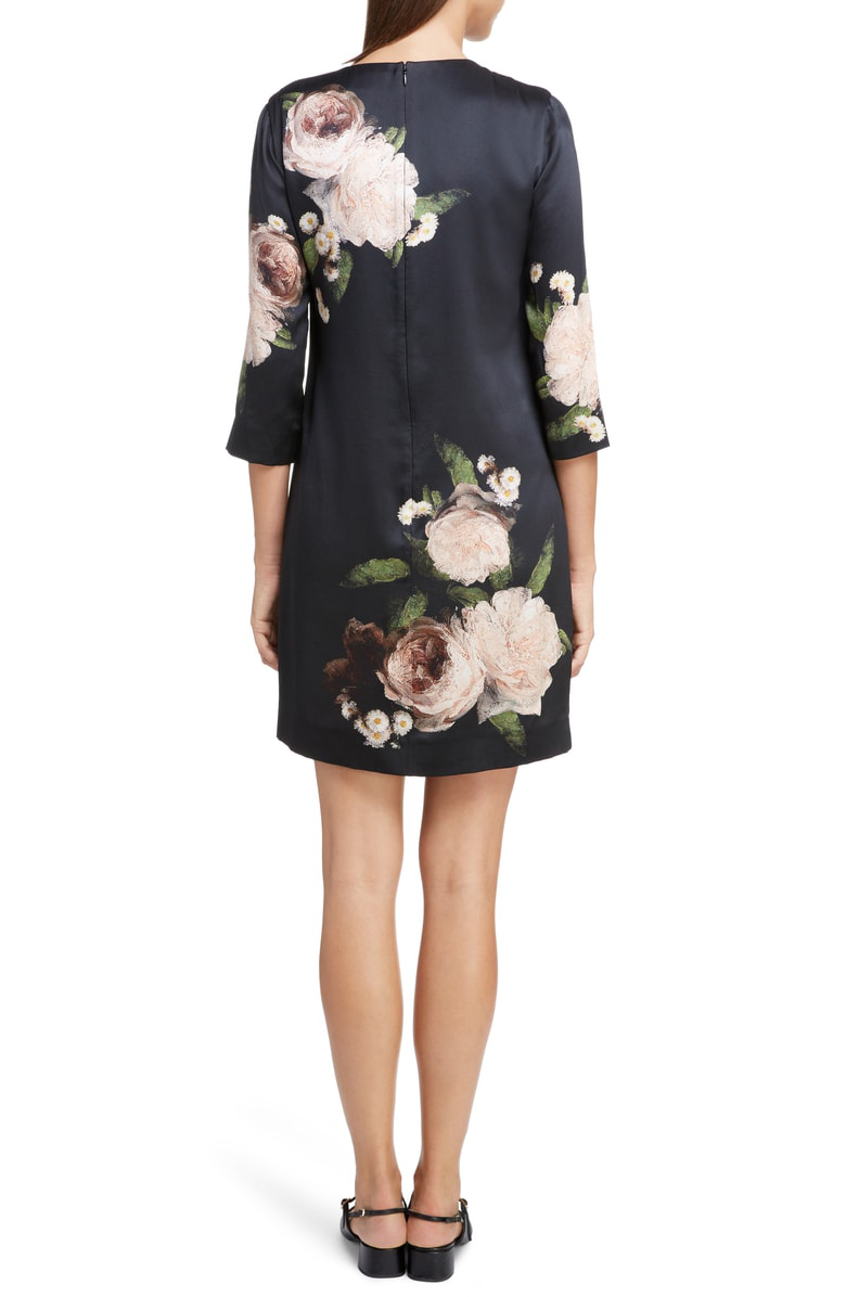 6c629348bb Erdem Emma Crewneck 3 4-Sleeve Floral-Print Silk Shift Dress In Black