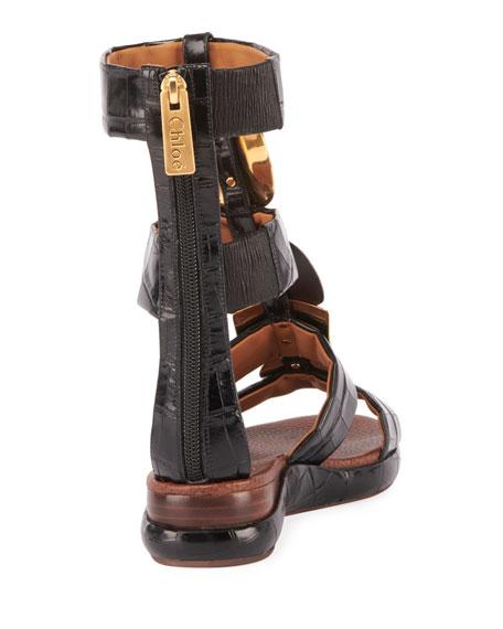 519d67043b1e ChloÉ Wanda Flat Tall Gladiator Sandals In Black