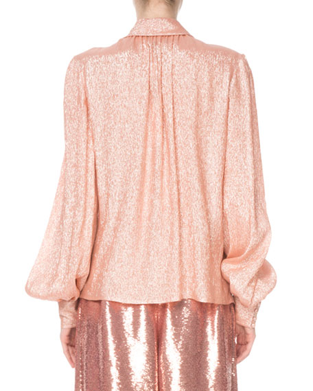 96c022231056f Marc Jacobs Shimmer Tie-Neck Blouse In Peach
