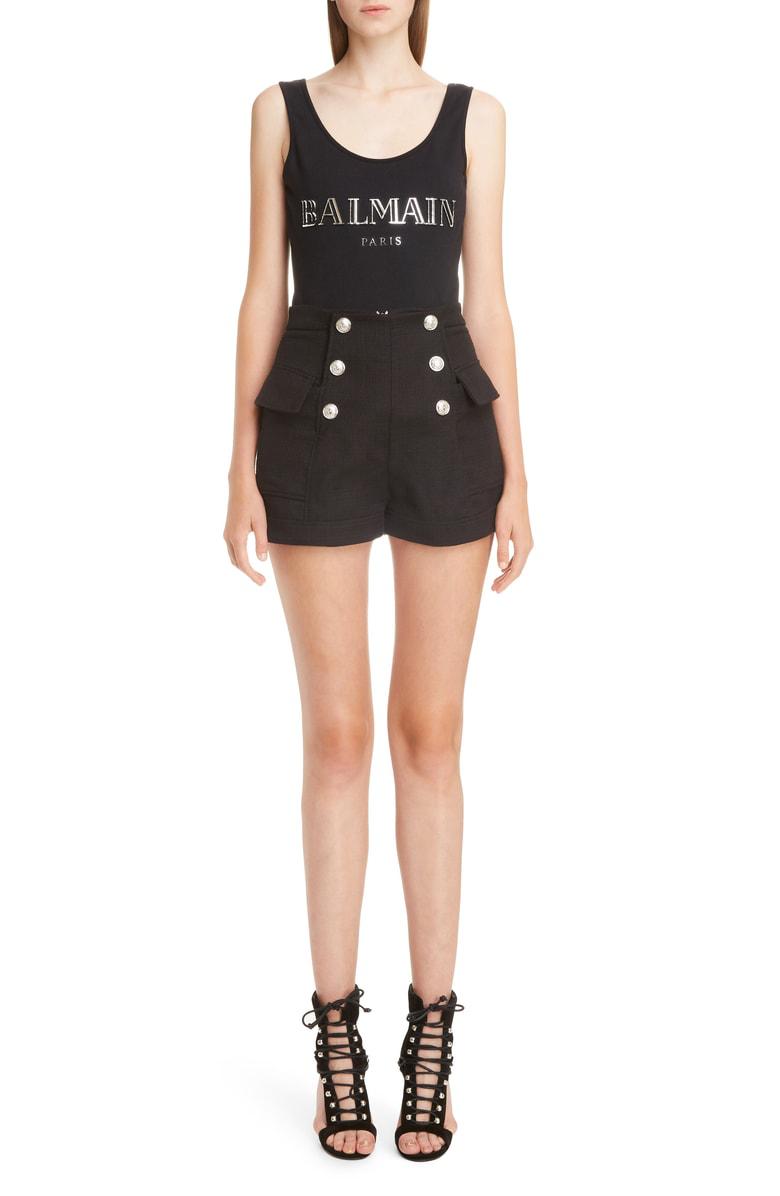 Balmain 3D Shiny Logo Cotton Jersey Bodysuit In Black