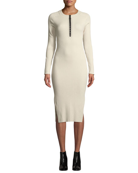 5eb5701266b98 Rag & Bone Brynn Ribbed Long-Sleeve Hook-Front Dress, Ecru | ModeSens