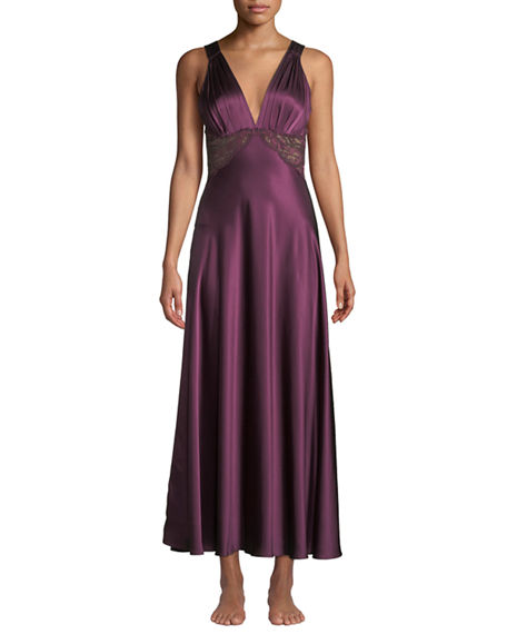 90b183f23b6f9 Christine Lingerie Bijoux Lace-Inset Silk Gown In Black Cherry ...