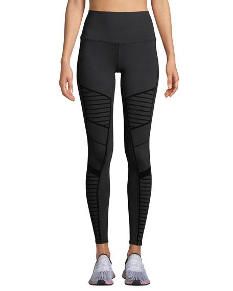 4a4b613b0e4336 Alo Yoga Flocked High-Waist Moto Leggings In Black | ModeSens