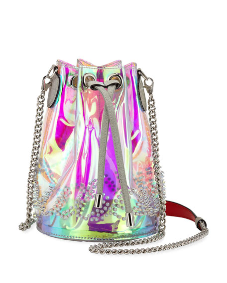 1f91ab75599 Marie Jane Spiked Iridescent Pvc And Glittered-Leather Bucket Bag in Clear  Multi
