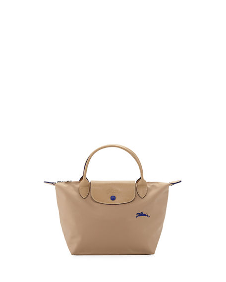 Le Pliage Club Small Top-handle Tote Bag In Beige/silver