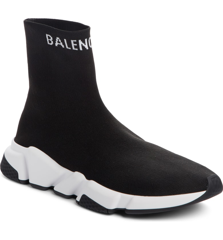 Balenciaga Black And White Speed High-Top Sneakers In 1006 Black