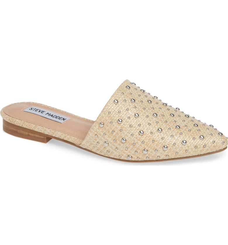 9d0a41ee177 Steve Madden Tempo Studded Mule In Raffia