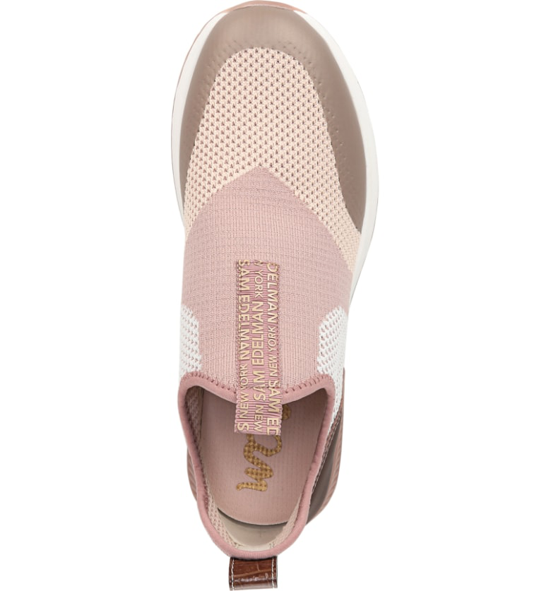 741221303 Sam Edelman Women s Dania Knit Slip On Sneakers In Cameo Pink Fabric ...