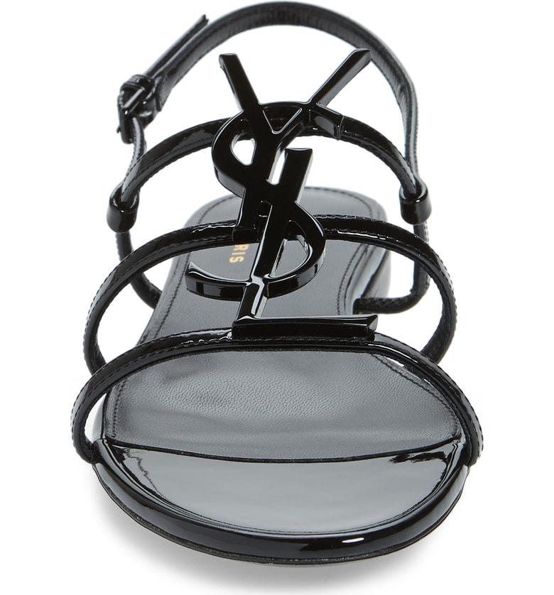 Saint Laurent Strappy Sandals Cassandra  Patent Leather Logo Black In 1000 -Nero