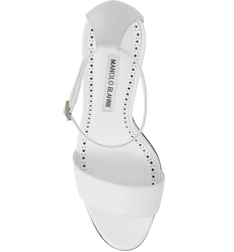 124ac6120eb Manolo Blahnik Leda Leather Ankle-Wrap Sandals With Sculpted Heel In White