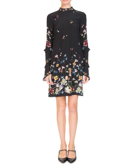 96541da19ad Erdem Manon Mock-Neck Ruffled Long-Sleeve Floral-Print Shift Dress In Black
