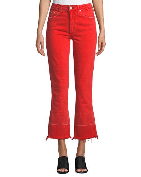 48e7dea47 Amo Denim Bella High-Rise Flare-Leg Jeans With Released Hem In Cayenne
