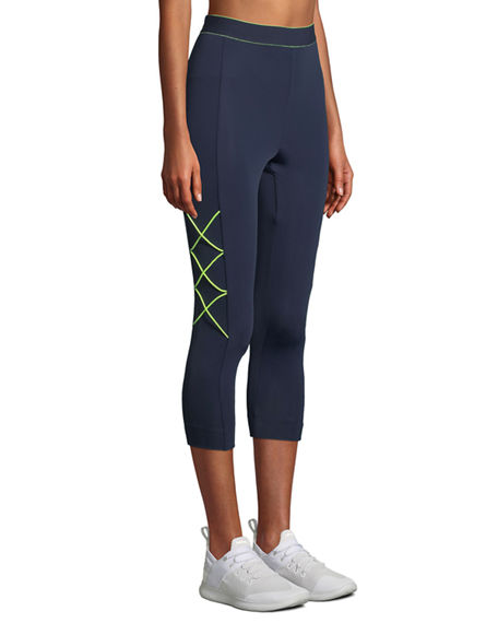 Cushnie High-Waist Cropped Leggings With Cording In Blue/Green