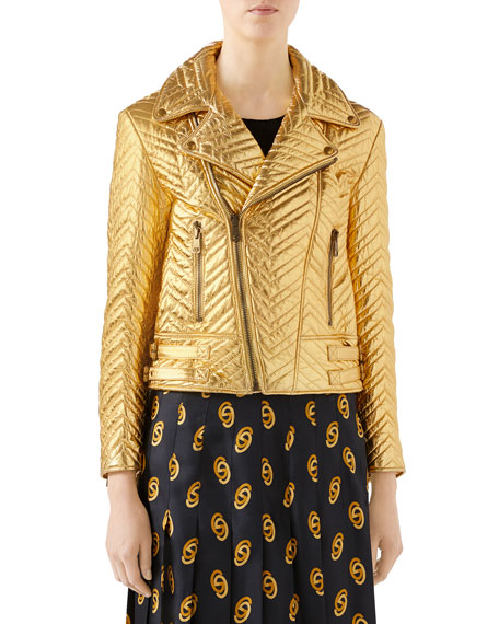 7fe78dcba164 Gucci Quilted Metallic Soft-Leather Biker Jacket In Gold | ModeSens