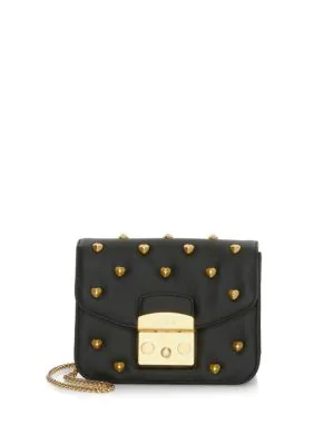 1b26a7b9fe83 Furla Metropolis Amoris Studded Leather Mini Crossbody Bag In Black Onyx