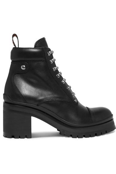 57bbc9ef033 Miu Miu Lug-Sole Leather Ankle Boots In Black