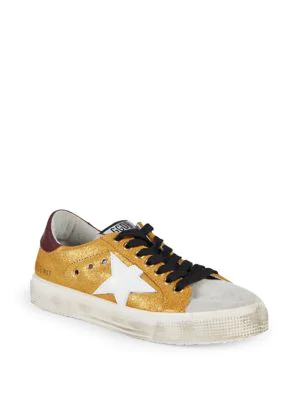 4cb68c54c5f3 Golden Goose May Metallic Leather   Suede Sneakers In Yellow Multi ...