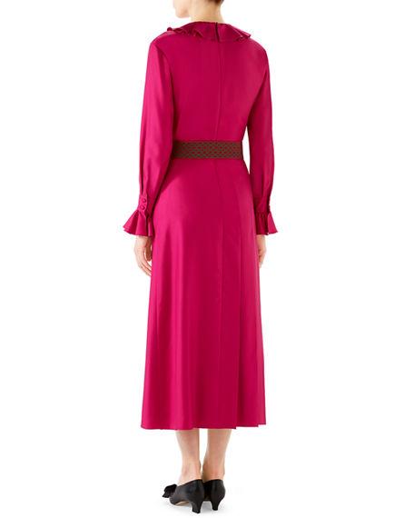 e3bcdc5cc22 Gucci Belted Ruffle-Trim Silk Twill Peasant Dress In Pink
