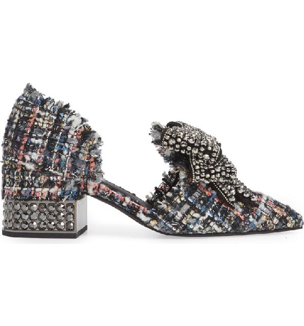 98026de0213 Jeffrey Campbell Valenti Embellished Bow Loafer In Black Multi Tweed Pewter