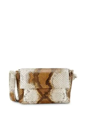 Nancy Gonzalez Python Shoulder Bag In Brown