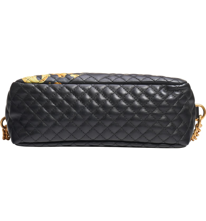 3fd084c41b08 Versace Icon Small Quilted Napa Camera Bag With Barocco Print In Black