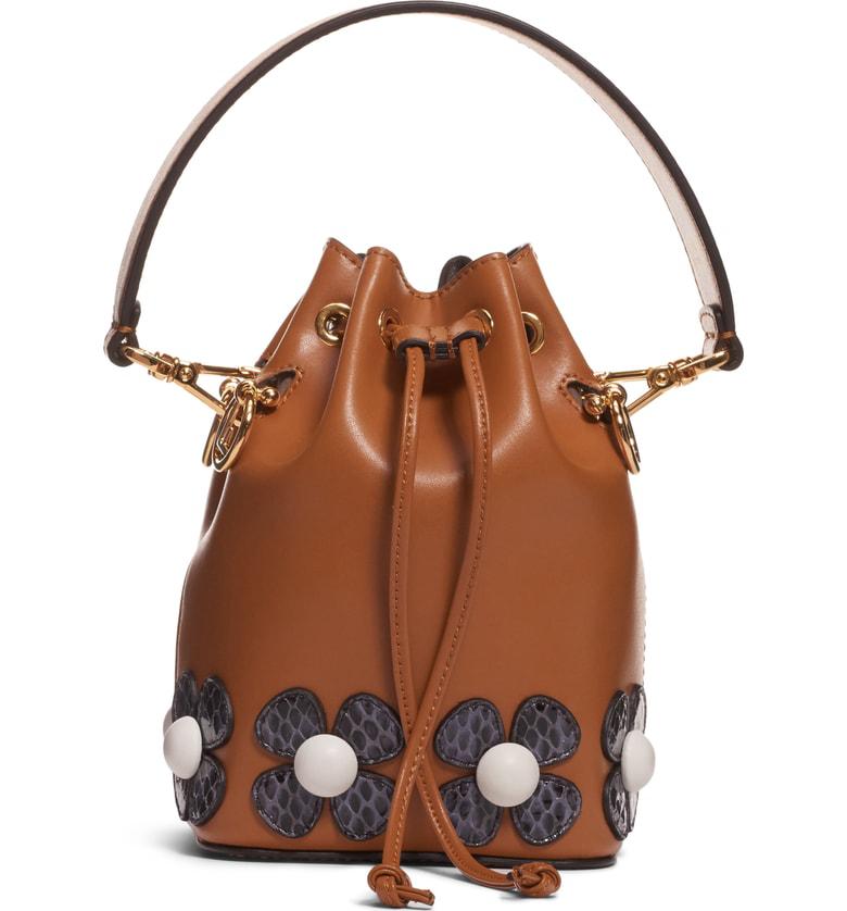 77d040d4f32f Fendi Mon Tresor Embellished Leather Bucket Bag - Brown In Caramel ...