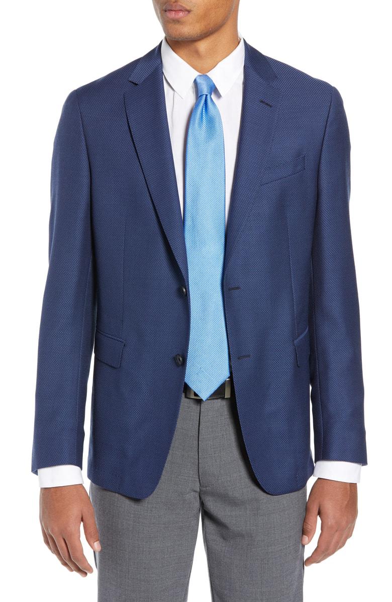 6daf0a339e9 Hugo Nobis Slim Fit Wool Blazer In Open Blue